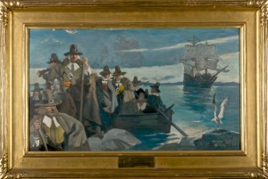 "By the American illustrator and artist Henry Botkin (1896-1983), this ""Landing of the Pilgrims"" was one of several paintings by Botkin commissioned by the Old Colony Trust Company for a 1920 publication, ""New England Old and New."""